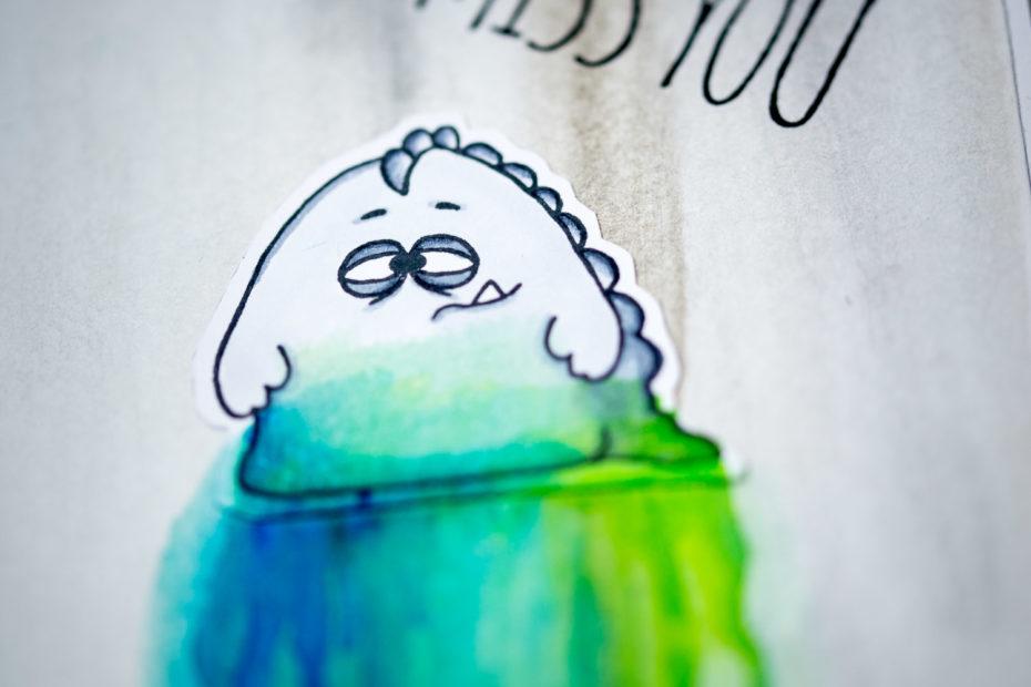 Karte, Liebe, Vermisse Dich, Monster, handmade, © Gerda Steiner Design_Coffee Monster | © Stampers Anonymous_Bird Crazy (Tim Holtz) | © Copic_C7 | © Copic_C1 | © Copic_C5 | © Tsukineko_Memento - Tuxedo Black